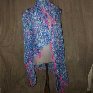 lilly pulitzer blue pink pom pom trim pareo scarf